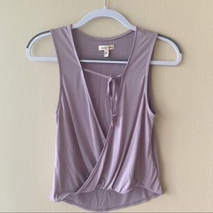 UO Silence + Noise Lilac Open Tie Front Tank Top
